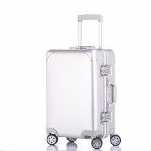 100% чистый Алюминий сплав тяга чемодан 20 24 29 дюймов из металла багажа  модный новый тип чемодан камера тянуть коробка стержен. eef16bf9e7c