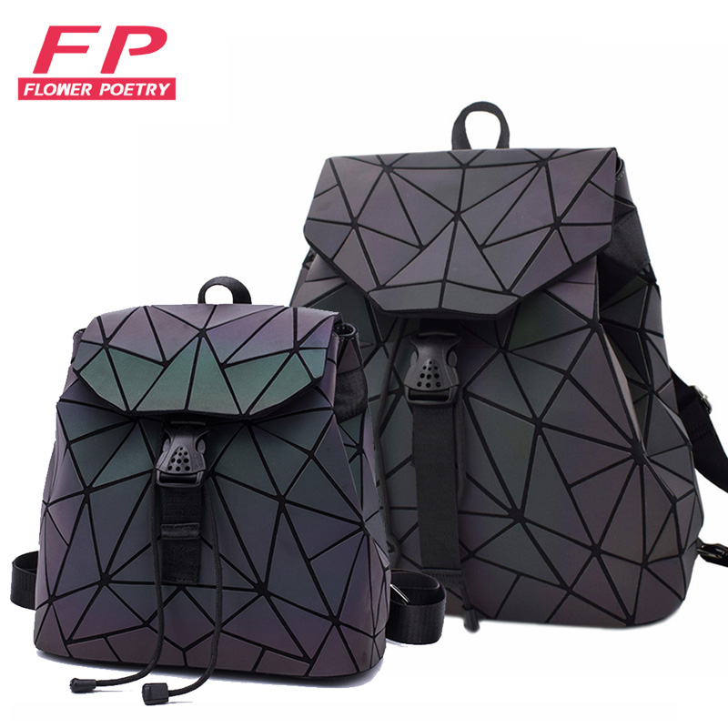 New Women Laser Luminous School Backpack Geometric Shoulder Bag Folding Student School Bags For Teenage Girl Hologram Bsac A Dos
