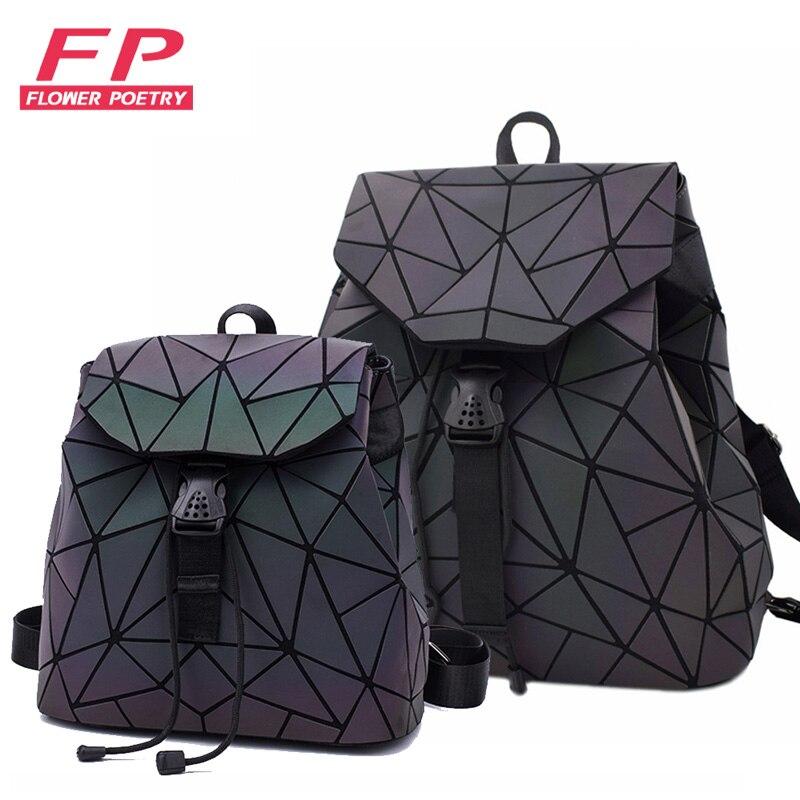 New Women Laser Luminous School Backpack Geometric Shoulder Bag Folding Student School Bags For Teenage Girl Hologram Bsac A Dos