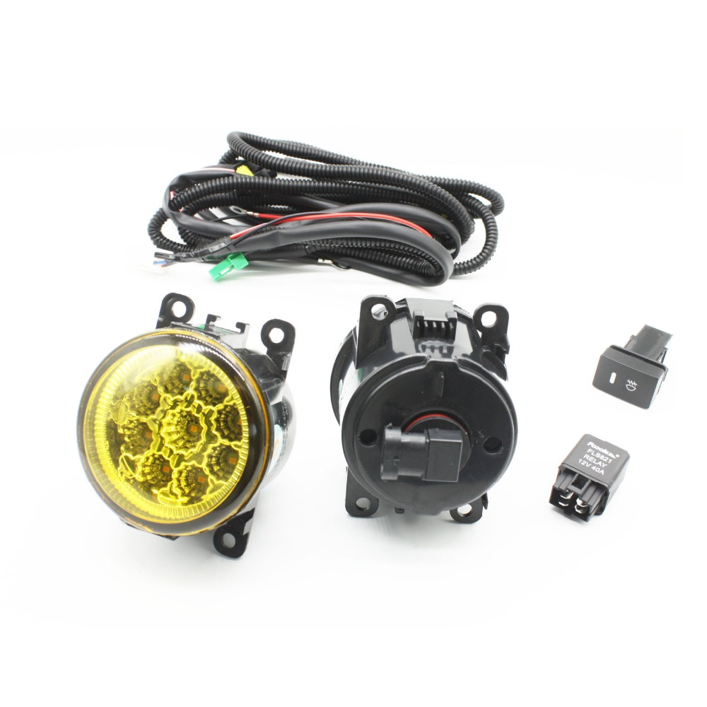 H11 Wiring Harness Sockets Wire Connector Switch + 2 Fog Lights DRL Front Bumper LED Lamp Yellow For Nissan Sentra 2007-2012 for renault logan saloon ls h11 wiring harness sockets wire connector switch 2 fog lights drl front bumper 5d lens led lamp