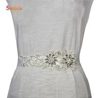 Glitter Rhinestones Belt for Bridal Long Sashes Wedding Dress Belt Accessories Flower Shape Prom Dress with Belt B10