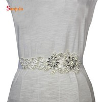 Glitter Rhinestones Belt for Bridal Long Sashes Wedding Dress Belt Accessories Flower Shape Prom Dress with Belt B10
