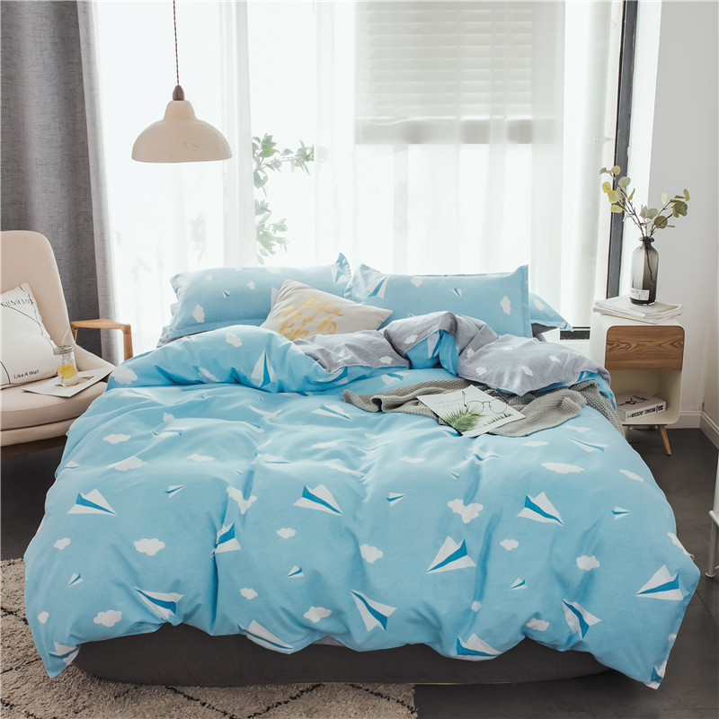3-4pcs/lot AB Sides Blue Color Duvet Cover Sets 100% Polyester Bedding Sets for Kids Adults Single Double Bed XF612-103-4pcs/lot AB Sides Blue Color Duvet Cover Sets 100% Polyester Bedding Sets for Kids Adults Single Double Bed XF612-10