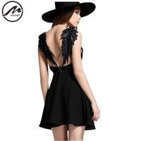 ZM Summer Dresses 2016 New Fashion Women European Sexy Halter Hollow Lace Angel Wings Beach Beach