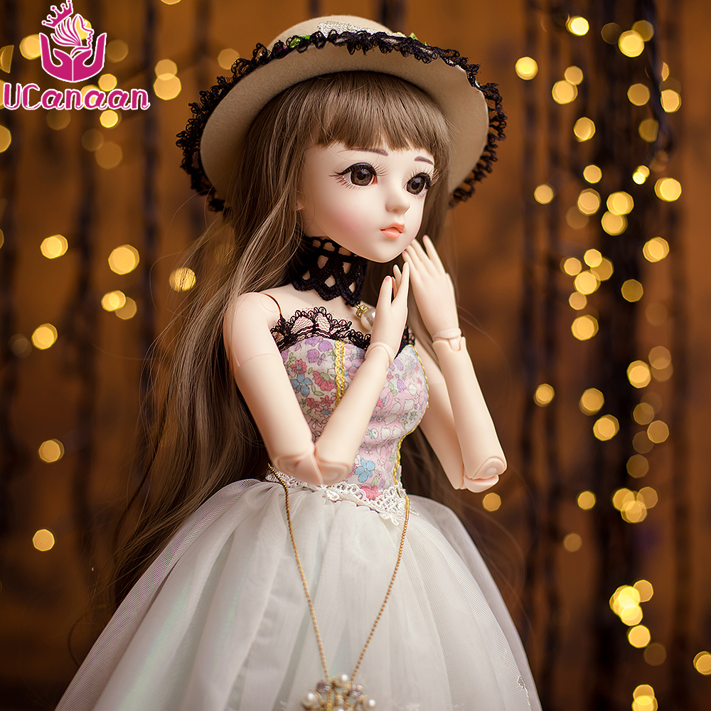 UCanaan BJD Doll SD Dolls Wedding Dress Wig&Makeup 18 Joints Body Beauty Clothes Shoes Princess Dolls Toys for Girls 60CM ucanaan bjd doll sd dolls wedding dress wig