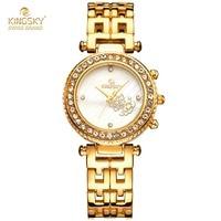 Luxury Brand Ladiess Watches Alloy Analog Quartz Bracelet Watches Ladies Luxury 18K Gold Watches For