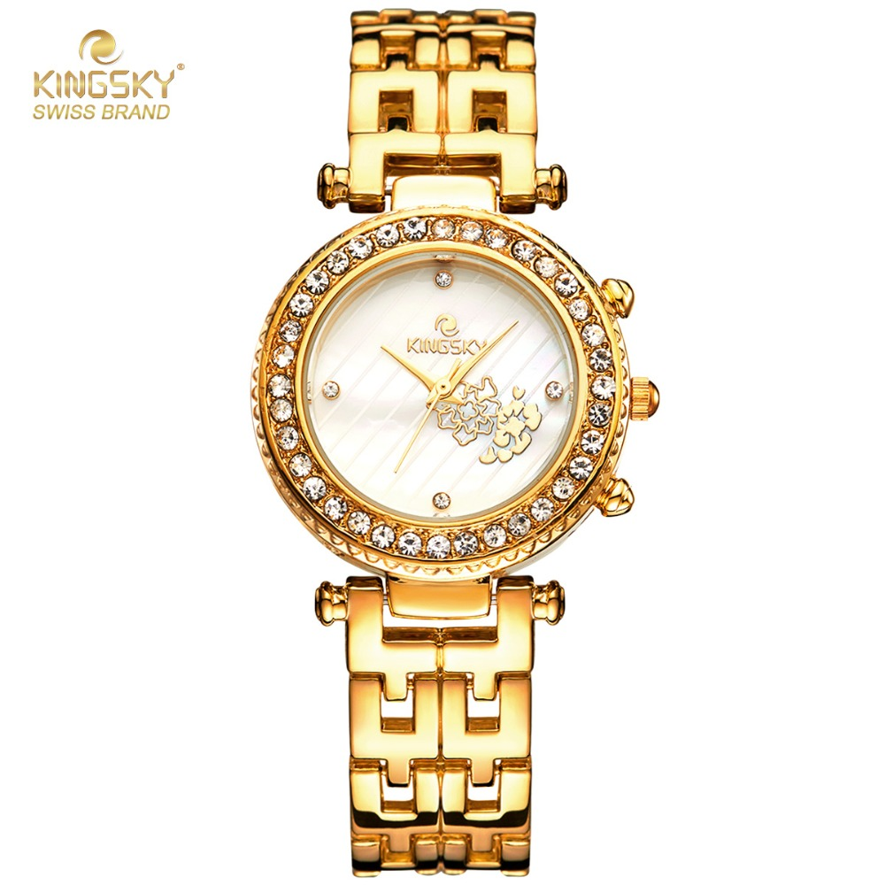 relogio feminino Kingsky Ladies Watches Top Brand Fashion Diamond Quartz Bracelet Watches Luxury Gold Watches Women Hodinky anime in solitude where we are least alone sora kasugano sexy bunny girl ver 1 7 scale pre painted pvc action figure toys doll