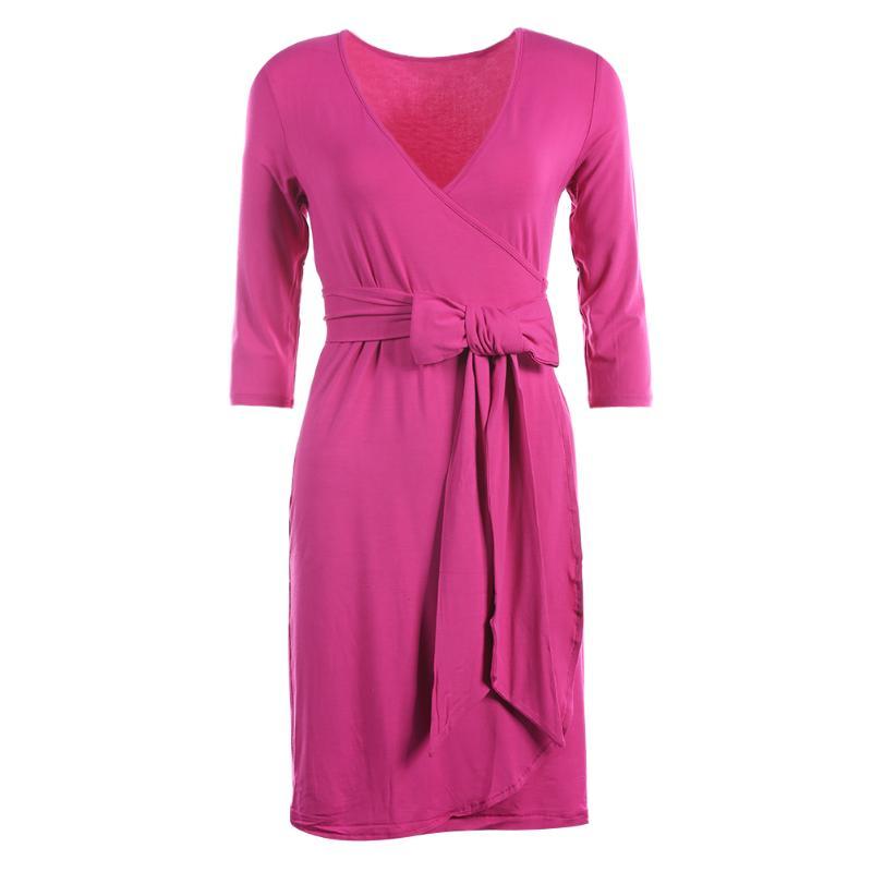 Spring Elastic Pregnant Woman V-Neck 3/4 Sleeve Solid Casual Soft Maternity Dress Fashion Women Vestidos Pregnancy Clothing