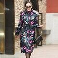 2016 Nova Jaqueta de Inverno Mulheres Impressão Algodão-Acolchoado Casacos Com Capuz Gola De Pele das Mulheres Roupas Plus Size Longo Para Baixo casaco Feminino