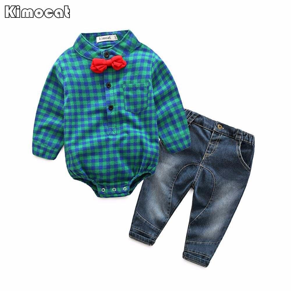 Gratis verzending baby bebes jongens kleding set romper + broek - Babykleding - Foto 5