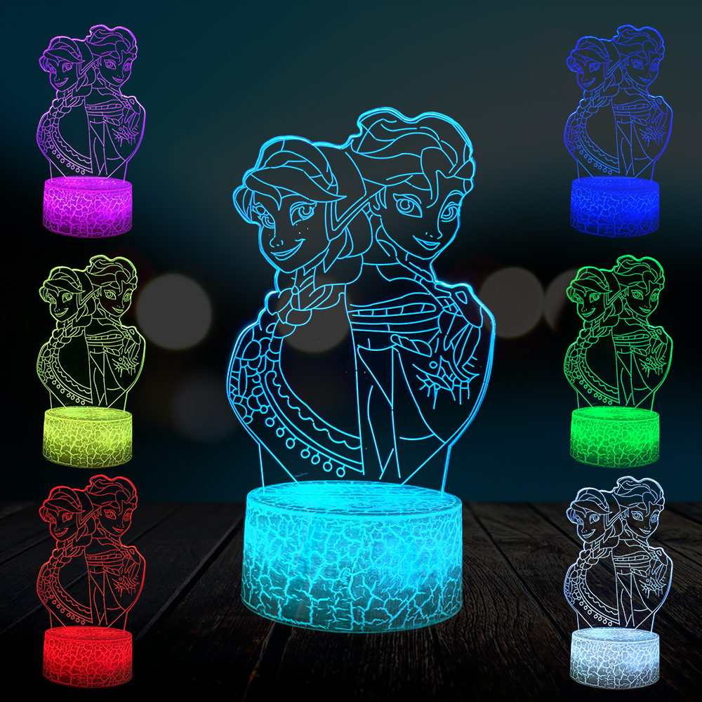 Cartoon Princess Elsa Anna 3D Lamp Multicolor Party Lighting Lovely Girls Gift Home Decorative Night Light USB LED Atmosphere