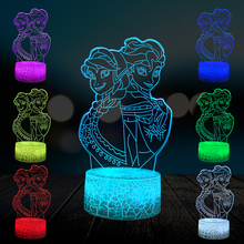 Cartoon Princess Elsa Anna 3D Lamp Multicolor Party Lighting Lovely Girls Gift Home Decorative Night Light USB LED Atmosphere hot sale cartoon figure 3d elsa anna bulb night light led lamp colorful atmosphere gadget decor bedroom baby girl kid gifts rc