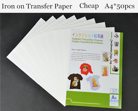 A4 50pcs iron on heat transfer printing paper inkjet for for Iron on shirt paper