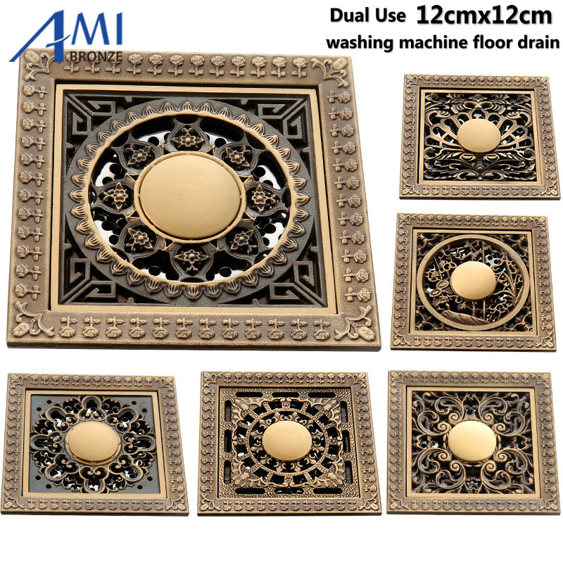 12x12cm Antique Brass  Floor Drain Bathroom Shower Room Dual use Washing machine Drain Floor Waste Carved Drains Sanitary 22mm 7 8 motorcycle aluminum handlebar grips bar ends sliders for honda hornet 600 s hornet 900 integra 700 nc700x abs vtr 10