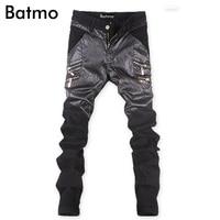 2017 new arrival high quality famous brand jeans mens PU denim jeans for men black italian jeans