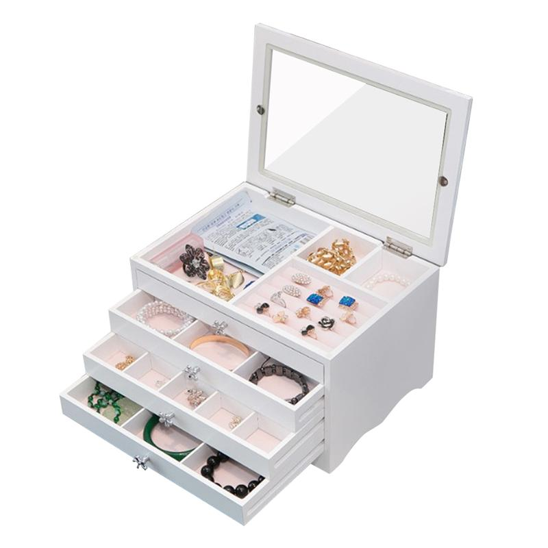 Wooden Jewelry Box Organizer with Lid Multiple Drawers Storage Case for Necklaces Bracelets Earrings Rings (Blue)