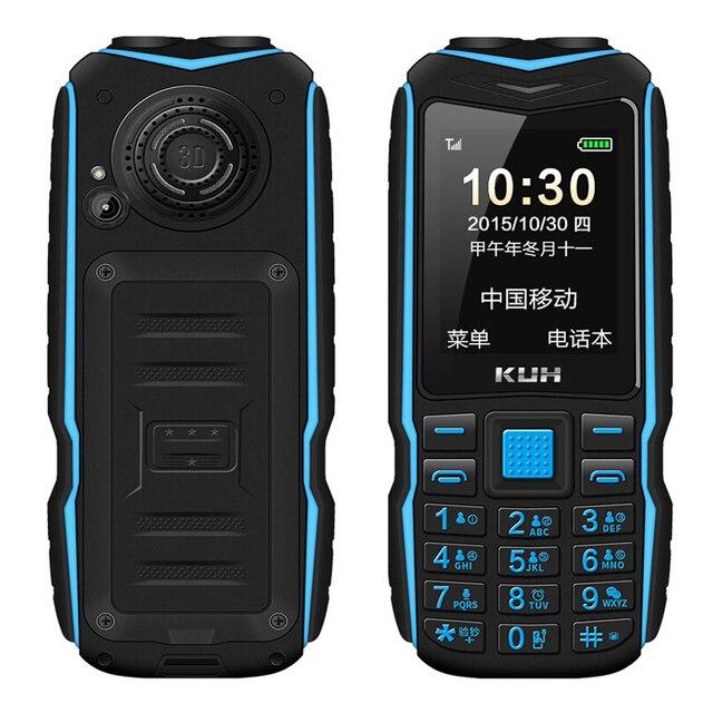 KUH כפולה פנס 15800mAh ארוך המתנה כוח בנק מוקשח חיצוני טלפון עמיד הלם Sim הכפול גדול קול רוסית מפתח טלפון