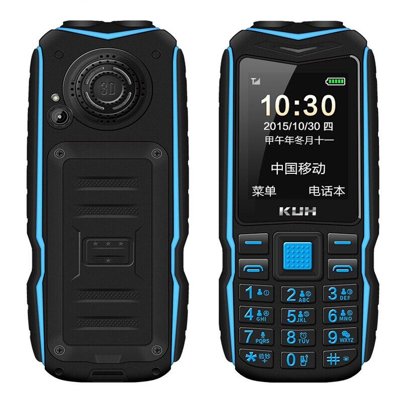 KUH doble linterna FM 15800 mAh larga espera Banco resistente al aire libre teléfono a prueba de golpes Dual SIM móvil de voz P035