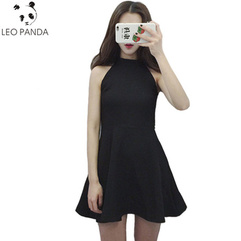 2018 New Summerdress Personalized Solid Black Hollow Out Halter Mini Dress Women Fashion Sleeveless Sexy A-Line dresses ZQ167