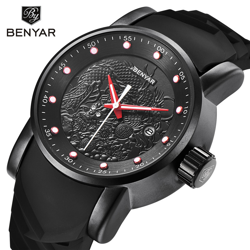 BENYAR Men Watch Waterproof Sport Rubber Silicone Mens Wrist Watches Top Brand Luxury Business Military Army Man Clock Gift 5115