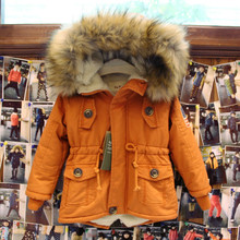 Thick Winter children jackets USA Flag Warmer Coats Hooded Faux Fur Collar Kids Outerwear Cotton Padded