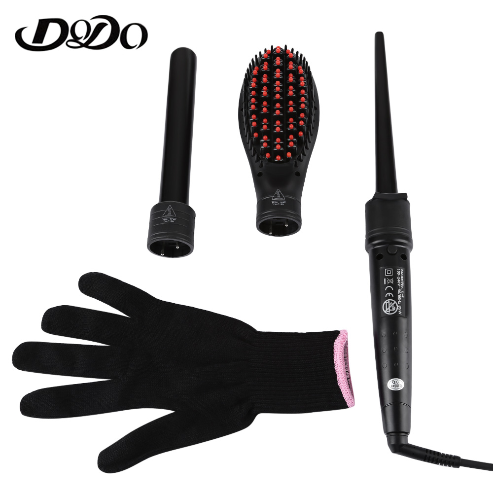 DODO Professional Electric Hair Curling Iron Interchangeable Electric 3 In 1 Hair Curler Clip Tube Brush Styling Tool ckeyin 9 31mm ceramic curling iron hair waver wave machine magic spiral hair curler roller curling wand hair styler styling tool