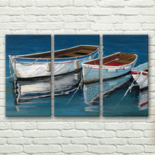 hand-painted stretched  framed oil wall art lake boat home decoration Landscape canvas painting 3pcs a set