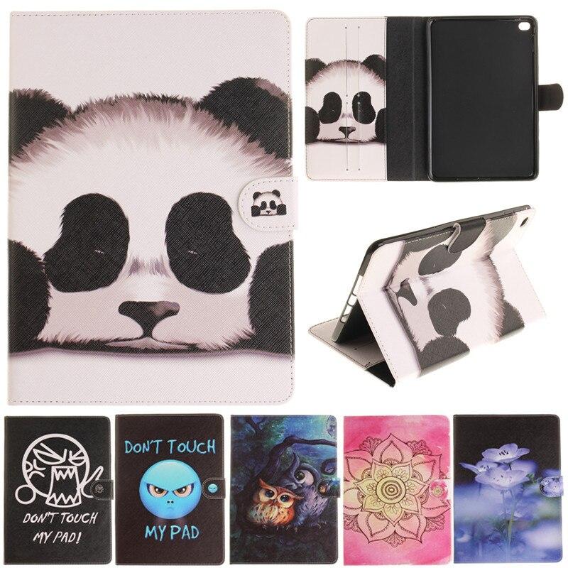 Fashion Cute Cantoon Panda Owl Flower Painted Flip PU Leather sFor iPad Mini 4 Case For Apple iPad Mini4 Tablet Case Cover Shell