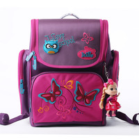 Hot Sale Brand Delune Kids School Bags Children Cartoon Butterfly Pattern Orthopedic Backpacks For 1 3 Grade Students Baby Girls