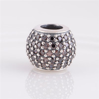 Fits Pandora Charms Bracelet 925 Silver Charms Pink crystal ball Silver bead Women DIY Jewelry Drop Shipping