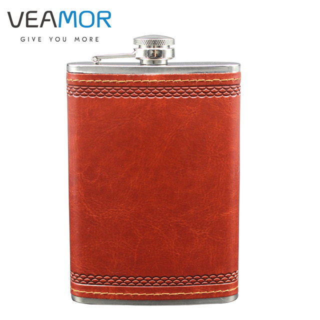 VEAMOR 9 oz Stainless Steel Hip Flask Portable Outdoor Camping Whiskey Jug PU Leather Flask WB791