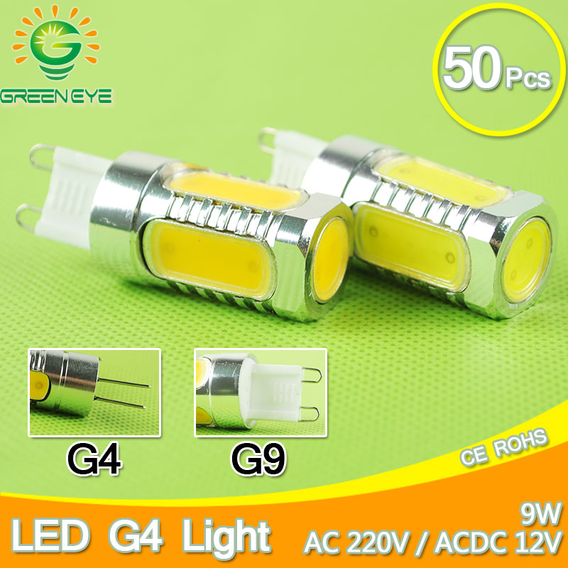 50pcs Aluminum G4 LED Light G9 COB LED Lamp 9W AC12V ACDC 110V 220V Crystal Corn Bulb Droplight Chandelier Spotligh Candle CREE top quality 1508 cob g9 2w 220v dimmable corn light bulb led chandelier crystal lamp art galleries crystal lamps