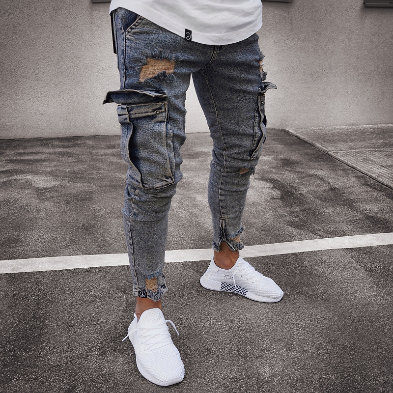 2019 Mens Denim Cargo Pants Jeans With Side Cargo Pocket  Tight Jeans Men Slim Fit Long Trousers