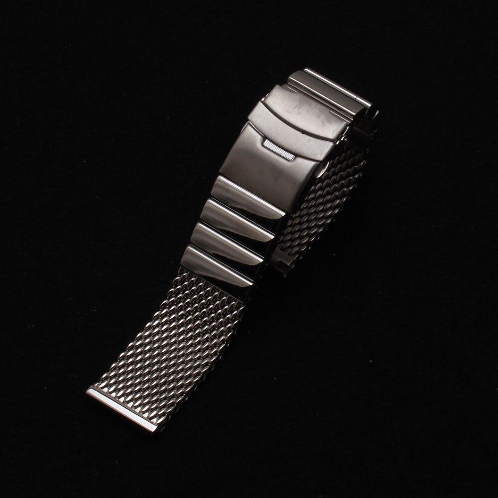 22 ملليمتر فضة watchbands شبكة معدنية خاصة مستقيم النهاية الفضة المقاوم للصدأ الرجال حزام حزام قفل مزدوج الوجه أساور-في اشرطة الساعات من ساعات اليد على  مجموعة 2