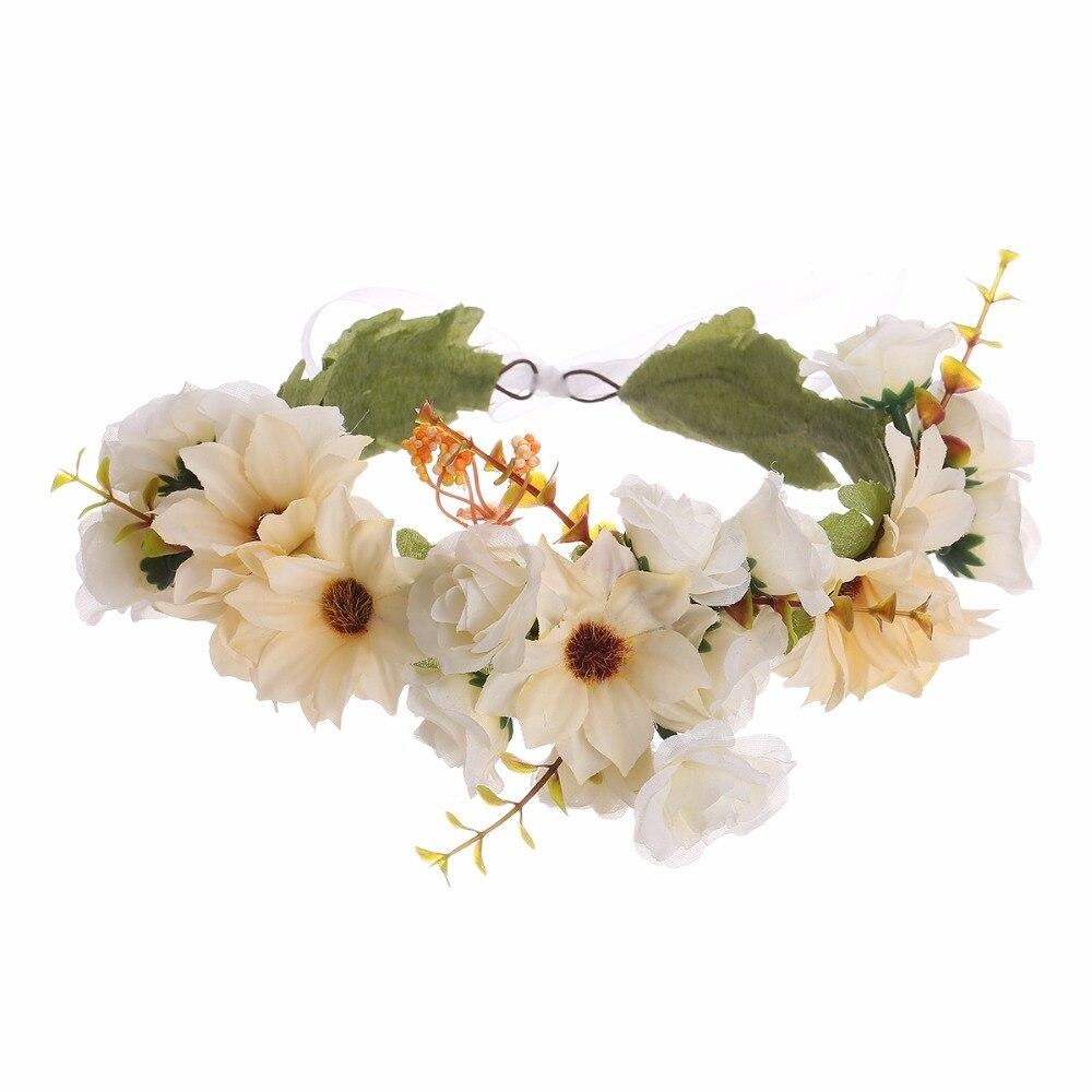 Telas Rose flor coronas Bandas para la cabeza para Niñas mujeres ...