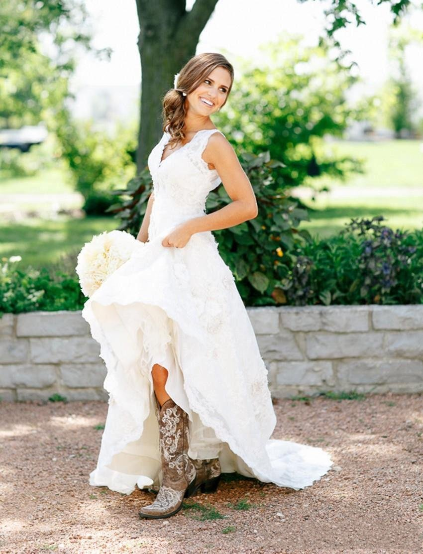 country style wedding dresses bohemian hippie stijl trouwjurken 2017 sheer lace v hals 3111