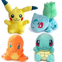 FGHGF Cute Soft Stuffed Anime 4pcs Pikachu Charmander Squirtle Bulbasaur Dolls Animal Soft Stuffed Dolls For Children Gift