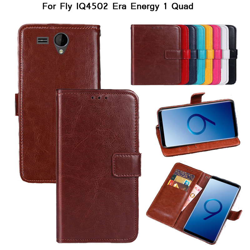 Newest for Fly IQ4502 ERA Energy 1 Vintage Wallet Case PU Leather Retro Flip Cover Magnetic Fashion Cases Kickstand Strap