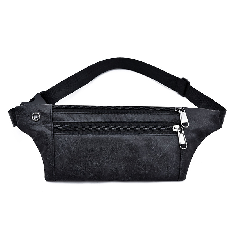 Waist Bag Men PU Leather Fanny Pack Fashion Belt Bag Unisex Phone Pouch Casual Black Chest Bags  Outdoor Sports Waist Packs