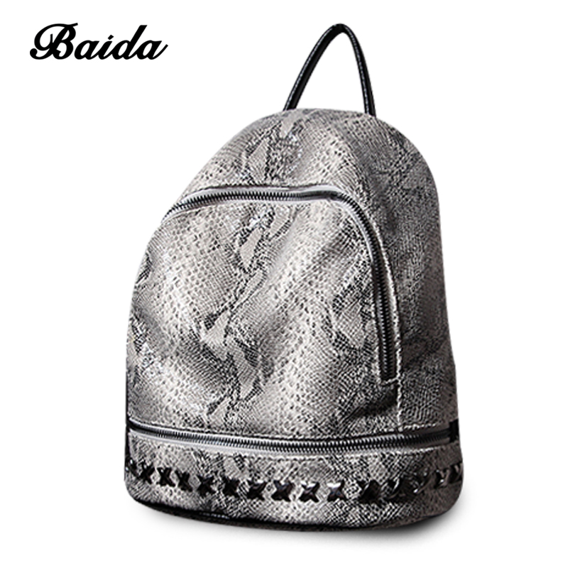 Women Genuine Leather Backpack Serpentine Satchel Rivet Bags Luxury Daily Casual Vintage Retro Bagpack