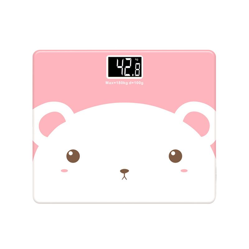 LUOEM Bathroom Scale Bear Body Fat Scale with Tempered Glass Cute Animal 180KG /5KG Mini Electronic Weighing Scale Fit