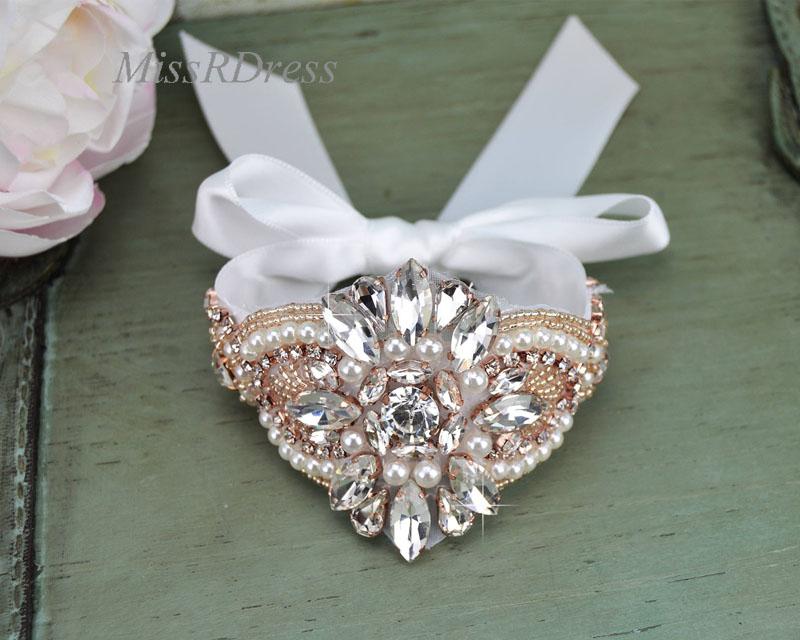 Wedding Bracelet MissRDress Rose Gold Handmade Bridal Cuff Bracelet Peals Wedding Cuff  Rhinestone Bridal Bracelet JK844