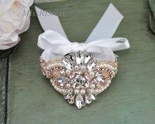Wedding Bracelet MissRDress Rose Gold Handmade Bridal Cuff Bracelet Peals  Wedding Cuff rhinestone Bridal Bracelet JK844 cc7ac795b7ff