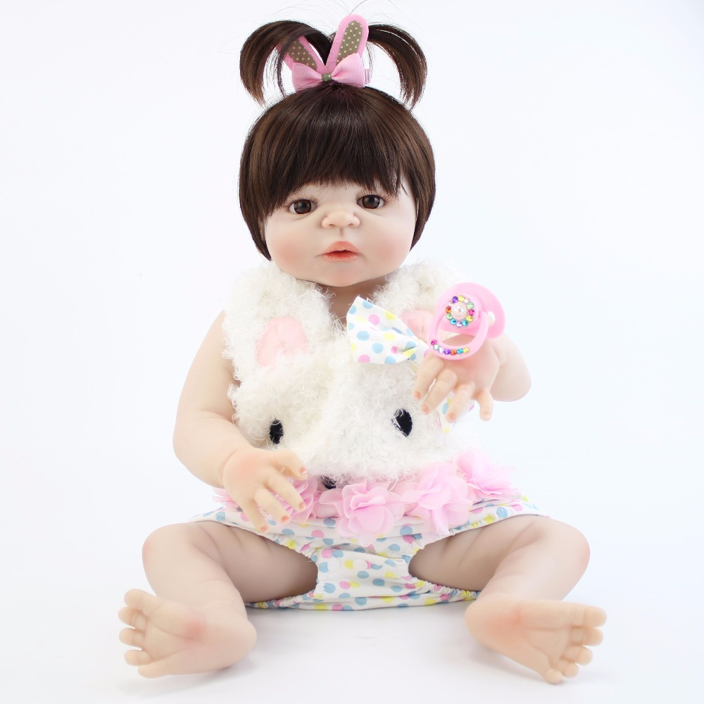 55cm Full Silicone Body Reborn Baby Doll Toy Lifelike 22'' Newborn Princess Girls Babies Doll Birthday Gift Present Bathe Toy 55cm full body silicone reborn baby doll toys lifelike baby reborn princess doll child birthday christmas gift girls brinquedos