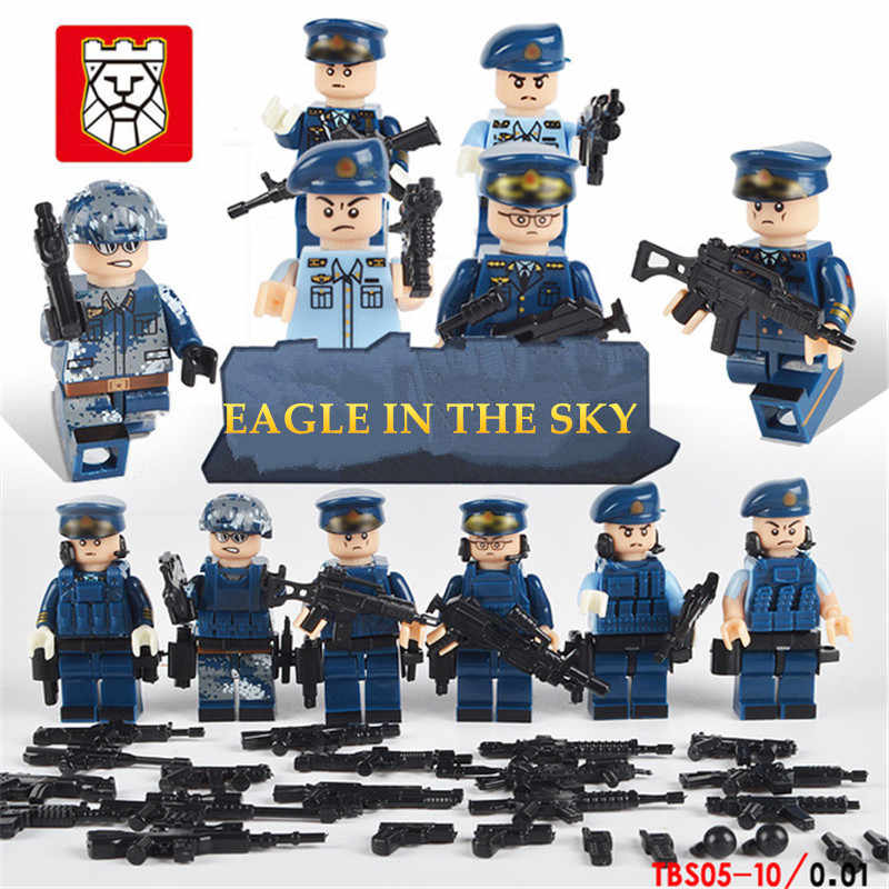6PCS/Lot Team City Police Military Figures Scene Series Soldier Army Gun Weapon Build Block Brick legoed For Children Toy