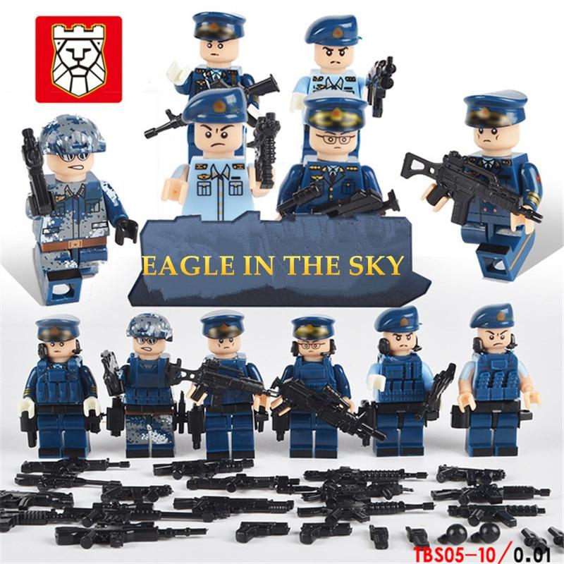 6 шт./лот, командные городские полицейские военные фигурки, сцена, серия солдат, армейское оружие, строительные блоки, кирпич для детей, игруш