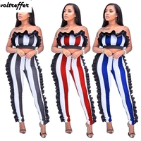 Strapless Overalls For Women Crop Top And Pants Sets Striped Print Two Piece Jumpsuit Sexy Stringy