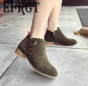 438f6980d85 EFFGT Suede Warm Winter Ankle Boots Shoes Woman booties
