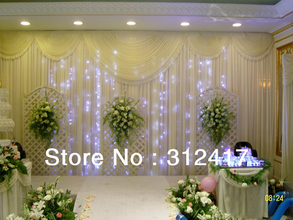 3x6m solid white backdrop curtain with swag for party for Cheap wedding decorations in bulk