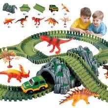 MEOA New Track Set DIY Flex Racing With Electric Car Dinosaur Jurassic Park Series Educational Toys For Children